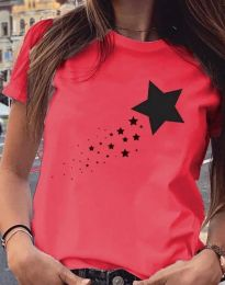 Дамска тениска в червено с принт - код 3592