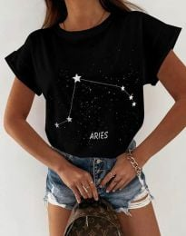 Дамска тениска с принт зодия овен черно - код 2342