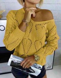 Дамски пуловер с едра плетка в цвят горчица - код 4781