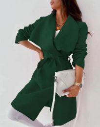 Дълго дамско палто с колан в тъмнозелено - код 0960