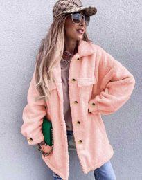 Дамско свободно меко палто с копчета в цвят пудра - код 4967