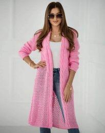 Атрактивна дамска дълга плетена жилетка в розово - код 7361