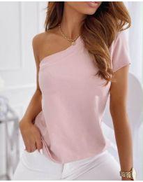 Изчистен дамски топ потник с едно рамо в розово - код 2576