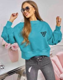 Свободна спортно-елегантна дамска блуза в синьо - код 4391