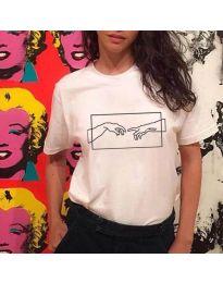 Κοντομάνικο μπλουζάκι - κώδ. 3177 - λευκό