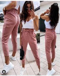Спортно - елегантен панталон в цвят праскова - код 8585