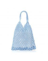 Дамска чанта в светлосиньо от плетиво тип торба - код CF009-25