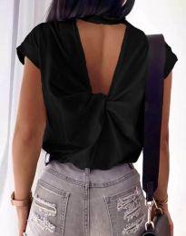 Дамска тениска с ефектен гръб в черно - код 4515