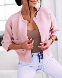 Къса плетена дамска жилетка в цвят пудра - код 4695