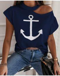 Κοντομάνικο μπλουζάκι - κώδ. 206 - σκούρο μπλε