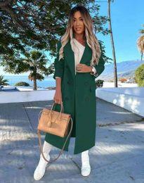 Дълго дамско палто с копчета в тъмнозелено - код 3854