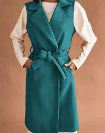 Дълъг дамски елек с колан в цвят тюркоаз - код 7196