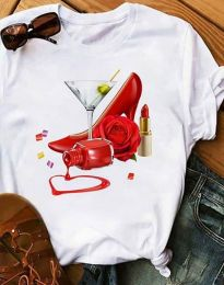 Κοντομάνικο μπλουζάκι - κώδ. 2438 - 1 - λευκό