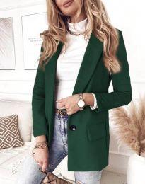 Елегантно дамско палто в тъмнозелено - код 1345
