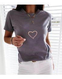 Κοντομάνικο μπλουζάκι - κώδ. 3700 - γκρι