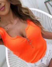 Дамски топ рипс в оранжево с цип - код 2630