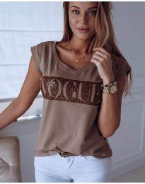Κοντομάνικο μπλουζάκι - κώδ. 627 - καφέ