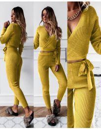 Дамски комплект блуза и панталон рипс в цвят горчица - код 1177
