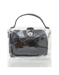 Дамска чанта в черно с прозрачна външна част - код YF - D2025 - лице