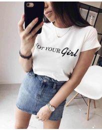 Κοντομάνικο μπλουζάκι - κώδ. 3580 - 1 - λευκό