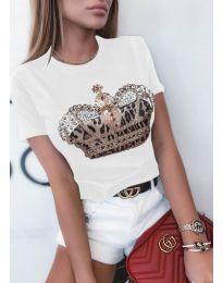 Κοντομάνικο μπλουζάκι - κώδ. 4648 - λευκό