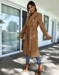 Дълго дамско елегантно палто с колан в цвят капучино - код 6429