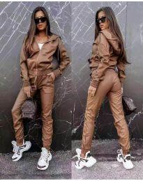 Дамски комплект кожа суичър и панталон в кафяво - код 6518