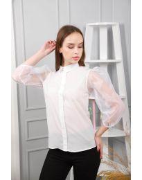 Дамска риза в бяло с ръкави от тюл - код 0633