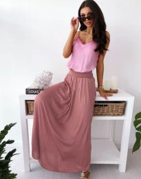 Дълга дамска пола в цвят пудра - код 2667