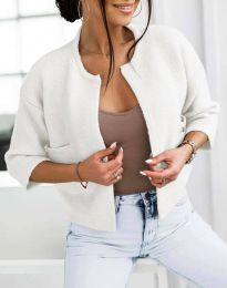 Къса плетена дамска жилетка в бяло - код 4695