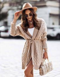 Дамска дълга плетена жилетка с колан в бежово - код 2894