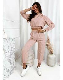 Спортен комплект с висока талия и къса блуза  в розово - код 9320