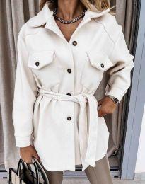 Дамско спортно-елегантно палто с копчета в бяло - код 4966