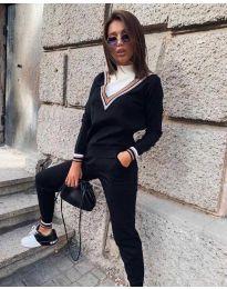 Дамски комплект блуза и панталон в черно - код 6163