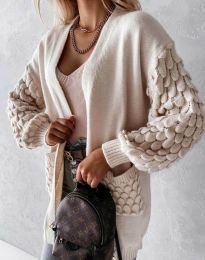 Модерна дълга свободна плетена жилетка в бежово - код 0785