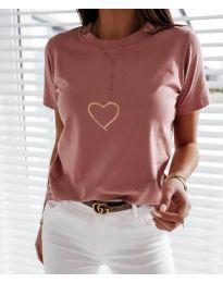 Κοντομάνικο μπλουζάκι - κώδ. 3700 - ροζ