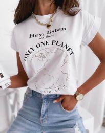 Дамска тениска в бяло с надпис - код 2926