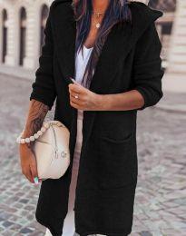 Дълга плетена дамска жилетка с качулка в черно - код 6655
