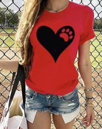 Κοντομάνικο μπλουζάκι - κώδ. 3204 - 1 - κόκκινο