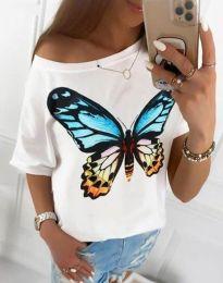 Дамска широка тениска в бяло с принт - код 1545