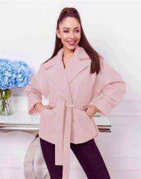 Късо дамско палто с колан в цвят пудра - код 0121