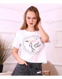 Κοντομάνικο μπλουζάκι - κώδ. 3546 - λευκό