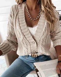 Дамска къса плетена жилетка с копчета в бежово - код 3876