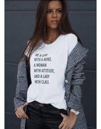 Κοντομάνικο μπλουζάκι - κώδ. 908 - 2 - λευκό