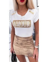 Κοντομάνικο μπλουζάκι - κώδ. 3680 - λευκό