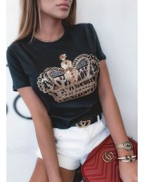Κοντομάνικο μπλουζάκι - κώδ. 4648 - μαύρο