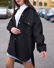 Дамско свободно палто с копчета в черно - код 4070