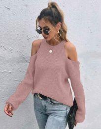 Дамски пуловер с голи рамене в цвят пудра - код 3165