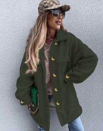 Дамско свободно меко палто с копчета в масленозелено - код 4967