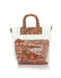 Дамска чанта със змийски десен в оранжево с прозрачна външна част - код DD-570 - гръб